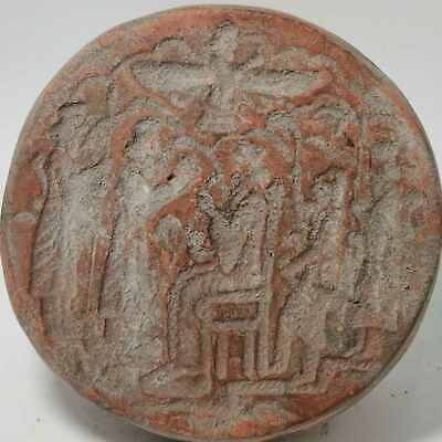 Ancient Unique Sassanian king  12 cm Big Terracotta Stamp Seal   # 118
