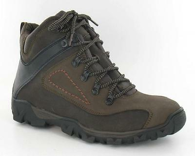 R12A Spot On Mens A3R034 Brown Leather Lace Ups Walking Boots