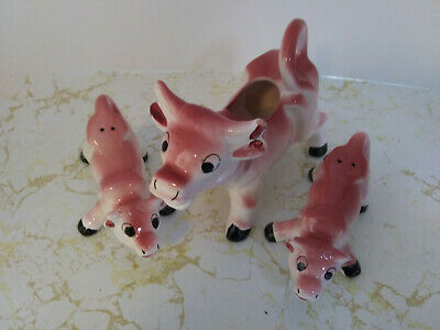 Vintage 3 piece Japan Pink Cow Creamer with Salt and Pepper Pink Cows
