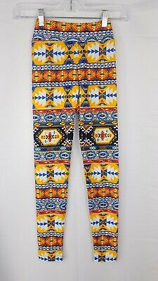 LulaRoe Tween Leggings Aztec Print Colorful Girls Fitted Pants Comfy Bottoms