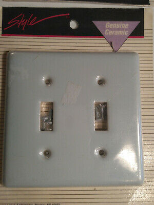 CERAMIC DOUBLE LIGHT SWITCH PLATE OUTLET COVER Light Blue Style NOS