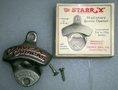 Vtg Starr X Cerveza Cristal Beer Bottle Opener USA Unused NOS w// box screws