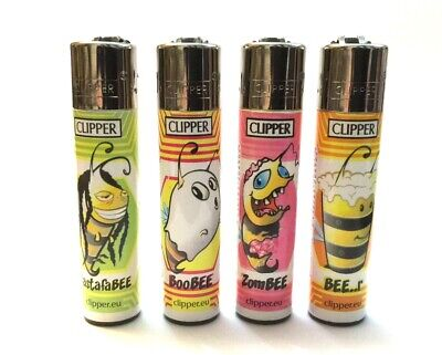 4 x CLIPPER LIGHTERS BEE RASTAFABEE ZOMBEE BEE-R BOOBEE GAS REFILLABLE LIGHTER