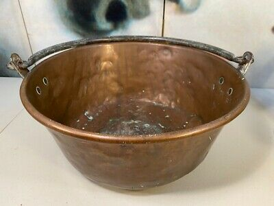 Antique English c1800s Copper Fireplace Kitchen Preserves Casserole Pan 43cm