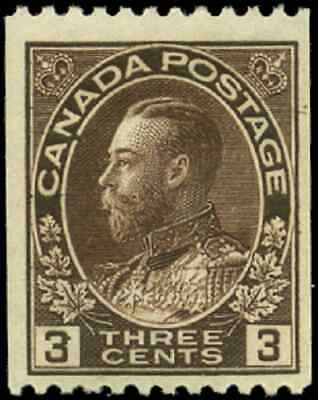 Canada #134 mint F-VF OG NH 1921 King George V 3c brown Admiral Coil Perf 12