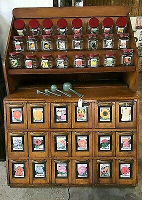 Awesome General Store / Country Store Seed Cabinet and Seed Jar Display