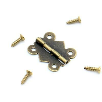 Door Hinges Screws 10pcs Iron Bronze Butterfly Cabinet Drawer Box Decorate Tools