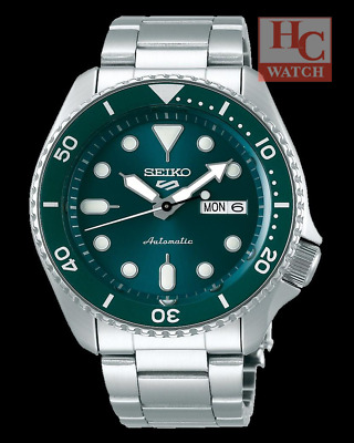 New Seiko 5 Sports  SRPD61K1 Green Dial Stainless Steel Strap Analog Mens Watch