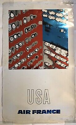 Poster Air France USA  Raymond Pages 1980er