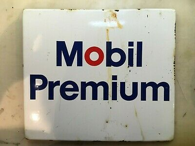 Original Mobil Premium Pump Plate Single Side Porcelain Sign
