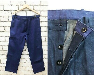 Vintage Mens Raw Denim Work Pants - Cotton Chore Pants / Trousers / Jeans - Blue
