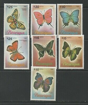 Thematic Stamps Animals - NICARAGUA 1986 BUTTERFLYS 2805/11  7v mint