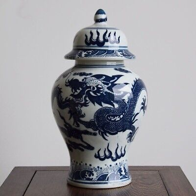 Chinoiserie vase  Blue and White Chinese Porcelain Ginger Jar