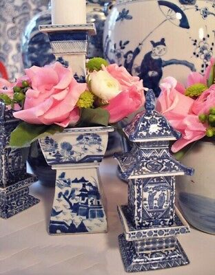ONE PAIR Chinoiserie tower vase Blue and White Chinese Porcelain Ginger Jar
