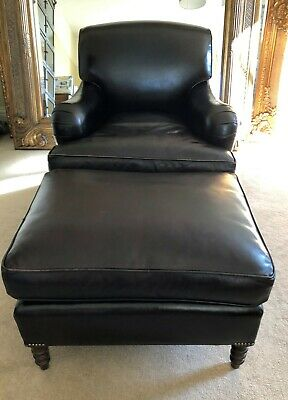 George Smith Traditional Howard Style Black Leather Armchair & Footstool