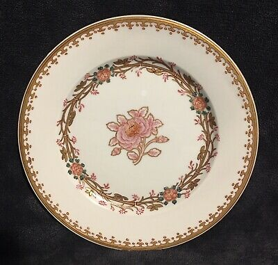 19th Century Antique Chinese Export Qing Gilt Pink Floral Scroll Plate