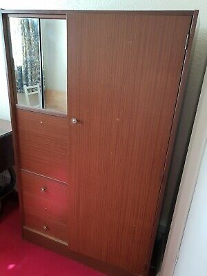 Small/single brown vintage wooden wardrobe 149x92x40cm with mirror & drawers