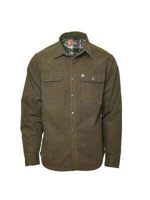 The American Outdoorsman Men/'s Canvas Shirt Jacket Plaid Flannel Lined Navy $100