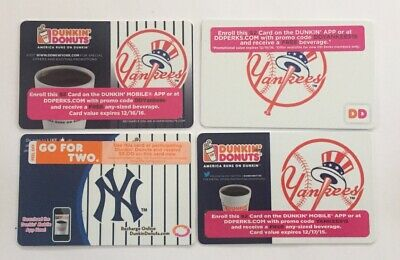 Dunkin Donuts Gift Card. NEW YORK YANKEES SGA Card. 2013, 2015-16, 2018. Mint.