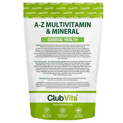 A-Z Multivitamin & Mineral 365 Tablet General Health 1 a Day Daily Gold ClubVits