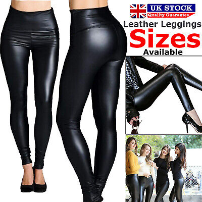 Ladies Leggings High Waist Black Faux Leather Shiny Wet Look Stretchy Pant Tight