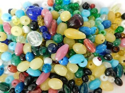 Antique Vintage glass bead lot~GLASS~old glass beads~multi colors~Jewelry making