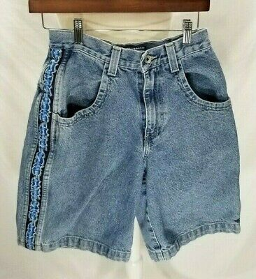 VTG JNCO Boomer Blue High Waist Denim Shorts 14 Womens Sz 0 / XS Made in USA