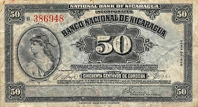 Nicaragua  50  Centavos  Series  of 1938  P 89a  Circulated Banknote A32