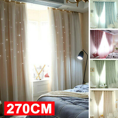 Double-Layers Star Blockout Blackout Curtains Eyelet Pure Fabric Room Darkening