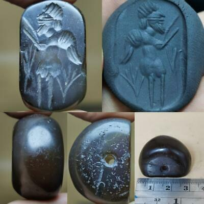 Agate stone Near Eastern Antique king intaglio stone Lovely BEAD  # 119