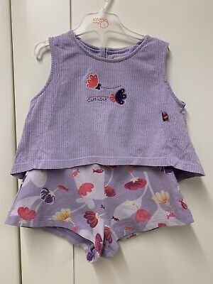 Catimini Baby Girls Purple Set With Top And Shorts Age 3 Years
