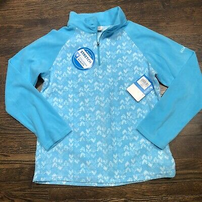 Columbia Youth Jacket Sz XL Blue Glacial II Fleece Print Half Zip Lightweight