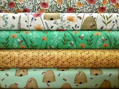 "Bumble bees 100% Cotton fabric. 44"" width. Sold by the 1/2 metre. Bees, beehives"