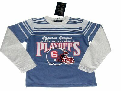 Boys Official League Playoff Grey Sleeves Longsleeve Cotton Top T-Shirt 1-12yrs