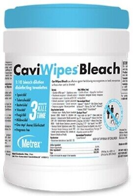 "Metrex #13-9100 CaviWipes Bleach Wipes, 6"" x 10.5"" (Pack of 90)"