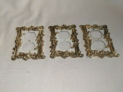 3 Vintage CHARM-n-STYLE Outlet Cover Electrical Outlet White /Gold