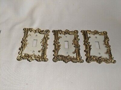 3 Vintage CHARM-n-STYLE Light Switch Cover Electrical Outlet White /Gold