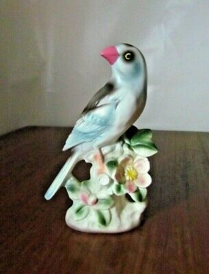 "Vintage Bird Figurine 8.25"" Glazed Ceramic Blue Black and Pink 1950's Greatness"