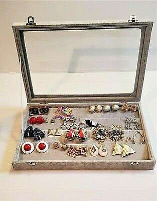 Earring and Case Set, Lot Earrings and New Display Case