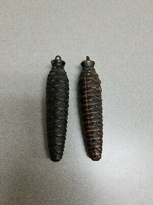 Pair of Cast Iron Pine Cone Cuckoo Grandfather Clock Weights 5 Inches