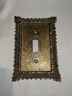 Vintage Metal Gold Tone Switch Plate Ornate Art Deco MC co.