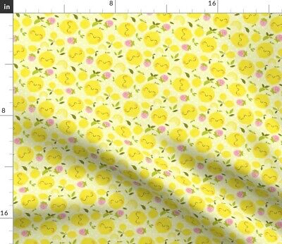Lemon Kawaii Strawberry Fruit Cute Flowers Fabric Printed by Spoonflower BTY
