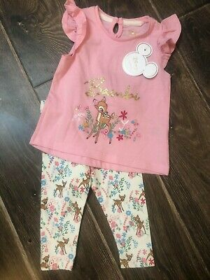 PRIMARK BABY GIRLS DISNEY BAMBI 2 PIECE OUTFIT BNWT ALL AGES SUMMER set