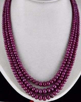 Natural Untreated Ruby Beads Round 3 Line 800 Cts Gemstone Necklace For Ladies