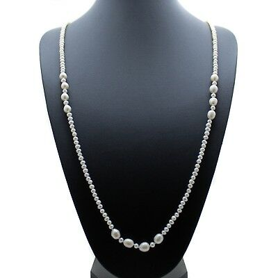 """Long Pearl Necklace White Cultured Freshwater Pearls 36"""" Opera Length"""