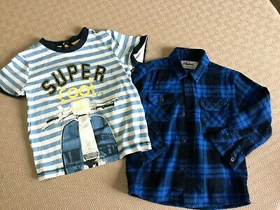 Boys Checked Shirt And Top From George And Rebel  Age 2-3 Years  Ex Cond