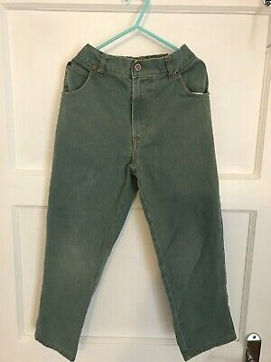Vintage Next Preppy Boys Green Jeans-Elasticated Waist-Age 5-6 Years