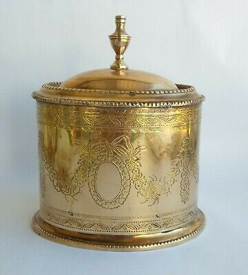Vintage Solid Brass Box Jar by Decorative Crafts Inc India Embossed Floral