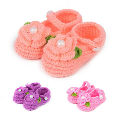 Newborn Baby Infant Girls Crochet Knit Socks Crib Shoes Prewalker 0-12 Months d