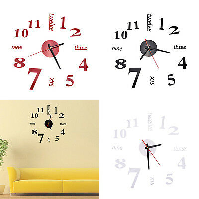 DIY Large 3D Number Mirror Wall Stickers Watch Home Decor Art Clock decor№ONMUK